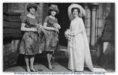 My grandmother's niece, Doreen, and her bridesmaids about to enter St. Mark's for her wedding to Derrick Jones. Church Of England, My Grandmother, Bridesmaids, Wedding, Dresses, Fashion, Casamento, Gowns, Moda