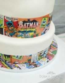 Use Top Tier For Cake On Cupcake Tower Black And White Comic - Comic Book Wedding Cake