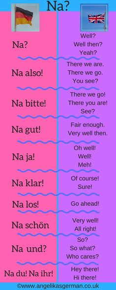 "10 ways to use the German word ""Na"" - German Language Study German, German English, Learn English, Learn French, German Language Learning, Language Study, Learn A New Language, Dual Language, Language Arts"