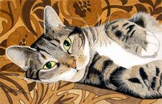 Alison's beautiful cat lying on a brown bed-cover - Peter Robinson's Cat Paintings