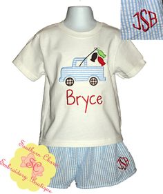 Boys Seersucker Fishing Truck Outfit with Monogrammed Shorts  https://www.facebook.com/SouthernCharmEmbroideryBoutique?ref=hl