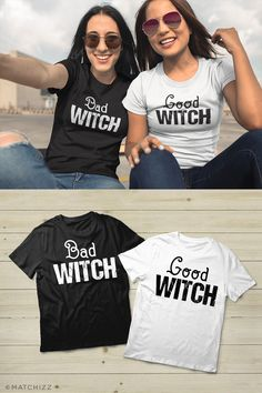 Best Friends Matching Shirts for Halloween Bad Witch Good Witch Unisex Shirt Our most popular unisex shirt cotton and 30 singles Rib-Knit Crew Neck Double needle sleeves and hem Best Friend Matching Shirts, Matching Couple Shirts, Good Witch Halloween, Halloween Shirt, Halloween Costumes, Summer Shorts Outfits, Short Outfits, Best Frends, Bff Shirts