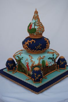 purple and gold wedding cakes | Russian Themed wedding cake. Bas Relief panels tell the story of Ivan ...