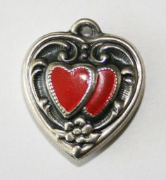 Vintage Sterling Silver Puffy Heart Charm Repousse Double Hearts with Enamel | eBay