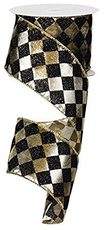 """Harlequin Diamond Patterned Ribbon : Black and Gold Glitter Wired Ribbon 2.5"""" Wide x 10 Yards"""