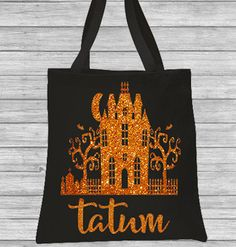 Trick or Treat Bag Halloween Bag Personalized Glitter Haunted House Canvas Bag by CleanlyWheatGraphics on Etsy