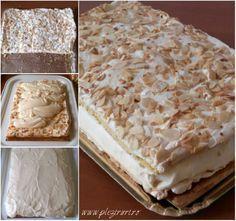 "Prajitura Verdens Beste, adica ""cea mai buna din lume"", numita si Kvæfjordkake, a fost votata in anul 2002 cea mai buna prajitura de catre norvegieni, devenind prajitura nationala a Nor… Sweets Recipes, No Bake Desserts, Cake Recipes, Cooking Recipes, Romanian Desserts, Romanian Food, Square Cakes, Sweet Tarts, Dessert Drinks"