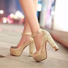 Bring on the glam and step up with confidence with this glittering shoes.Features buckle strap, round toe, thick platform, square high heels, paillette detailing. Crafted from PU, rubber, latex materi