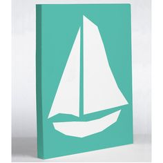 One Bella Casa Vintage Sailboat Graphic Art on Wrapped Canvas