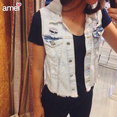 Colete jeans com touca de moletom removível  #lojaamei #jeans #novidades #colete #coletejeans #cute