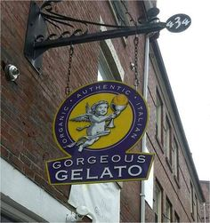 Gorgeous Gelato: Shop sign on Fore Street, Portland, ME