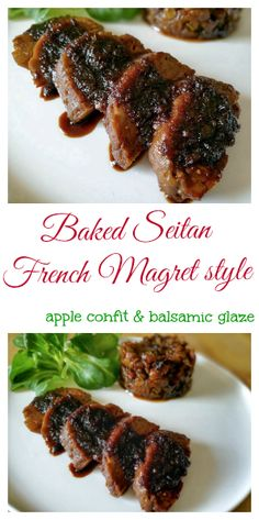 Wanna amaze your friends ? Try out this baked seitan recipe ! It's French magret style with apple confit and balsamic glaze. #vegan #fakemeat #simili  http://www.veganfreestyle.com/magret-de-seitan/