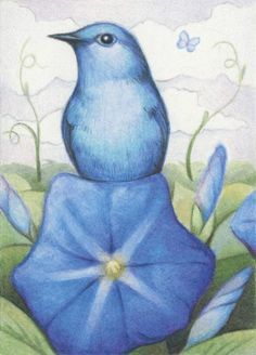 """""""BLUE ON BLUE"""" drawing Amy Turner. So delicate and soft.  TWIST:  blue bird feet to blue bird."""