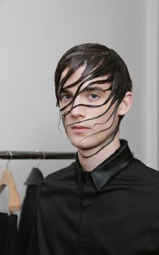 Wet Hair Look for Men | Sam Burnett created wet-look waves for the Qasimi collection at London ...