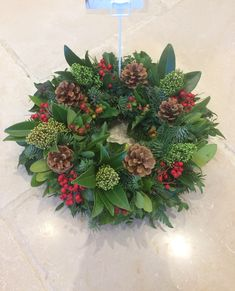 Classic Funeral wreath created by Willow House Flowers of Aylesbury, delivered to the funeral director within Buckinghamshire & Hertfordshire Christmas Door Wreaths, Autumn Wreaths, Christmas Decorations, Christmas Makes, Christmas Art, Winter Christmas, Xmas Flowers, Seasonal Flowers, Christmas Floral Arrangements