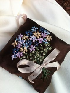 Hand Embroidered Bouquet Lavender Sachet by BeanTown Embroidery, Silk Ribbon Flower Bouquet