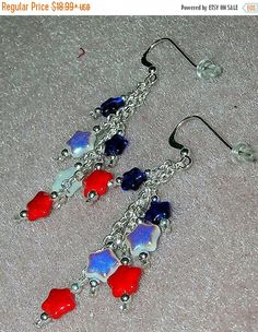Happy Graduation Sale NOW 925 Silver Red White Blue Star Sparkle Dangle Earrings