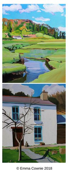Two paintings of old Gower cottages by Emma Cownie. Top is Pill House on the edge of the North Gower marshes & below is Ship Cottage, Pwll Du, which was once the Ship Inn.
