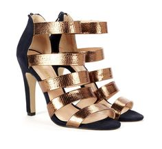 Metallic strappy heels