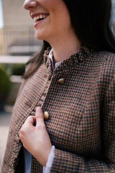 Polished style with feminine detailing. Carly Heitlinger from @collegeprepster is working our Autumn Checks Ruffle Shetland Jacket. | Talbots