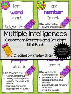 Multiple Intelligences poster and student mini-books