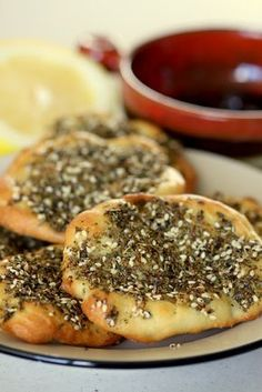 Mana'eesh bi Zaatar (Middle Eastern bread with mixed spice topping .. amazing stuff)