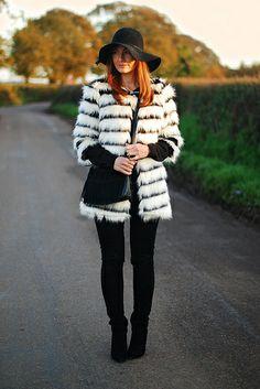 Black & white striped fur coat, black skinnies by Not Dressed As Lamb, via Flickr. From http://www.notdressedaslamb.com