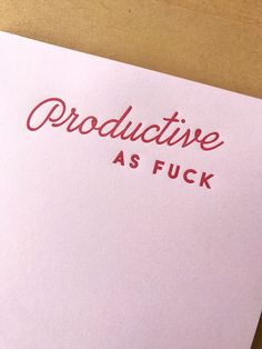 Productive AF Notepad: 50 pages, red ink on pink paper, 5.5 x 8.5
