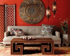 Moroccan interior decorating ideas, bright red color, unique Moroccan lamps, room furniture and decorative accessories