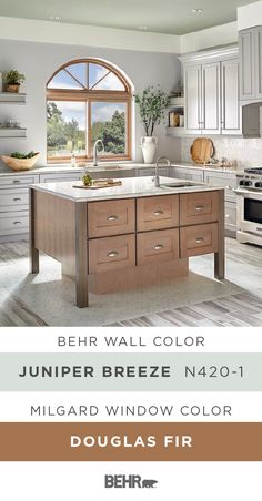 We're calling the style of this kitchen, modern farmhouse. And it all starts with a new coat of Behr Paint in Juniper Breeze paired with this Essence Series® Horizontal slider and radius top window, by Milgard, in Douglas Fir. You can add this neutral color palette to your home. Click below for full paint color details to learn more.