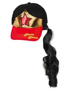 7c173abbd68 Wonder Woman Baseball Cap Hat with Ponytail Attached faux ponytail    elastic back  Faux ponytail is attached to the back so you can look just  like her.