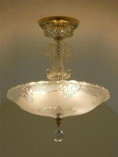 C 30's Art Deco Vintage Antique Ceiling Light Fixture Chandelier Shade Lamp | eBay