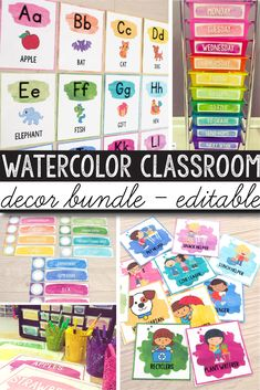 preschool classroom set up Create a beautiful, bright and organizedWatercolorThemed Classroom with this amazing classroom decor bundle. I put togethereverything you need! Classroom Decor Themes, Classroom Jobs, Future Classroom, Classroom Organization, Classroom Management, Classroom Board, Classroom Labels, Classroom Environment, Classroom Crafts
