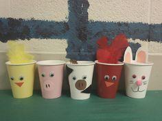 Barn yard cup animals
