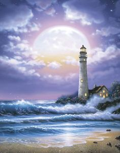 The moon, like a giant shimering opal, hangs low in a pink and lavender sky over silvery waves crashing on a sandy beach. On the right, a welcoming lighthouse rises from flowering shrubs. Lighthouse Painting, Lighthouse Pictures, Seascape Paintings, Beach Art, Pictures To Paint, Scenery, Murals Your Way, Ocean, Illustration