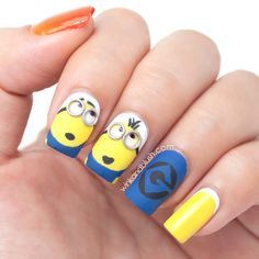 Despicable Me Minions Nail Art Tutorial///
