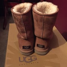 Classic short UGGs These have been worn multiple times. But they still look in good condition. I haven't cleaned them or sprayed the ugg protectant spray ever since I purchased them, so they might need some cleaning. They are the chestnut color boots. UGG Shoes Winter & Rain Boots