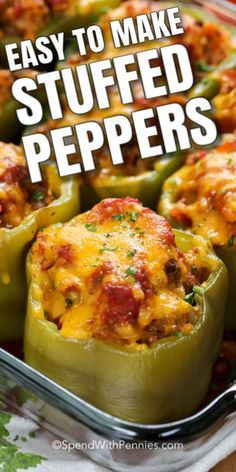 This easy stuffed peppers recipe is filled with rice and ground beef in a zesty Italian tomato sauce and topped with cheese. Substitute ground turkey for the beef or use cauliflower rice to make these into low carb stuffed peppers. Beef Recipes For Dinner, Ground Beef Recipes, Meat Recipes, Mexican Food Recipes, Cooking Recipes, Turkey Recipes, Sandwich Recipes, Chicken Recipes, Dinner Crockpot