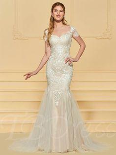 8e1b927a366 Illusion Back Mermaid Lace Wedding Dress with Sleeve