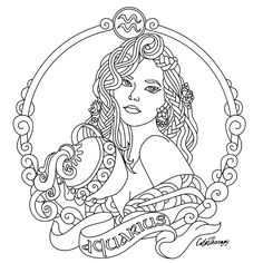 Aquarius Zodiac beauty colouring page