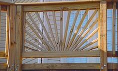 Are you considering a sunburst deck railing design for your deck? You can add a lot of appeal and a dramatic impact to your backyard deck with one of these designs. Front Porch Railings, Patio Railing, Wood Railing, Railing Ideas, Outdoor Railings, Front Porches, Side Deck, Front Deck, Backyard Shade