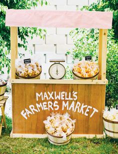 Charming Farmer's Market Party {First Birthday} with wooden fruit & vegetable stands, petting zoo, Dol ceremony, apple desserts & candy corn! Farm Birthday, First Birthday Parties, Birthday Party Themes, First Birthdays, Birthday Ideas, Country Fair Party, Fruit Stands, Farm Party, Childrens Party