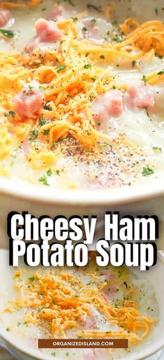 This easy Cheesy Ham Potato Soup is perfect comfort food for rainy, cold days! Made easily on your stove top with just a few inexpensive ingredients, it makes a delicious hot soup!