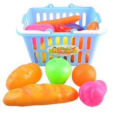 Kids Pretend Play Grocery Shopping Play Toy Fruit,Vegetable,snack food with Shopping Basket -- To view further for this item, visit the image link.
