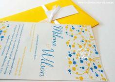modelo 27: convite de casamento floral em tons de azul e amarelo  - Galeria de Convites