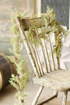 Pretty..Chippy Old Wood Kitchen Chair with Christmas Green Garland..natural rustic country..beach