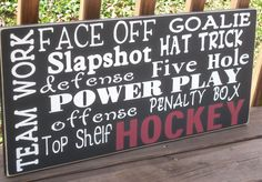 for my little hockey star. Hockey Mom, Hockey Stuff, Sports Signs, Sports Decor, Quotes Girlfriend, Hockey Bedroom, Hockey Decor, Hockey Tournaments, Word Collage