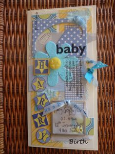 Bespoke personalised new baby boy card by Turtle's Treasures