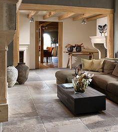 Belgian   Style   Interiors   Antique limestone flooring