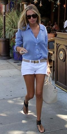 50 beste Sommer-Outfits mit Denim-Shorts – Page 21 of 69 – 50 beste Sommeroutfits mit Jeansshorts Mode Outfits, Casual Outfits, Fashion Outfits, Denim Outfits, Beach Outfits, Fashion Ideas, Casual Jeans, White Short Outfits, Blue Shirt Outfits